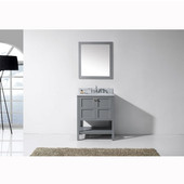 Winterfell 30'' Single Bathroom Vanity Set in Grey, Italian Carrara White Marble Top with Square Sink, Mirror Included