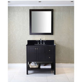 Winterfell 36'' Single Bathroom Vanity Set in Espresso, Black Galaxy Granite Top with Square Sink, Mirror Included