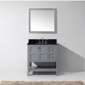 Winterfell 36'' Single Bathroom Vanity Set in Grey, Black Galaxy Granite Top with Square Sink, Mirror Included