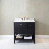 Winterfell 36'' Single Bathroom Vanity Set in Espresso, Italian Carrara White Marble Top with Round Sink