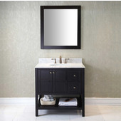 Winterfell 36'' Single Bathroom Vanity Set in Espresso, Italian Carrara White Marble Top with Round Sink, Mirror Included