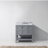 Winterfell 36'' Single Bathroom Vanity Set in Grey, Italian Carrara White Marble Top with Round Sink