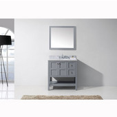 Winterfell 36'' Single Bathroom Vanity Set in Grey, Italian Carrara White Marble Top with Round Sink, Mirror Included