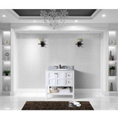 Winterfell 36'' Single Bathroom Vanity Set in White, Italian Carrara White Marble Top with Round Sink