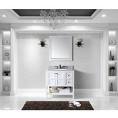 Winterfell 36'' Single Bathroom Vanity Set in White, Italian Carrara White Marble Top with Round Sink, Mirror Included