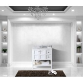 Winterfell 36'' Single Bathroom Vanity Set in White, Italian Carrara White Marble Top with Square Sink
