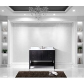 Winterfell 48'' Single Bathroom Vanity Set in Espresso, Italian Carrara White Marble Top with Round Sink