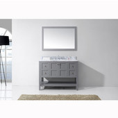 Winterfell 48'' Single Bathroom Vanity Set in Grey, Italian Carrara White Marble Top with Round Sink, Brushed Nickel Faucets, Mirror Included