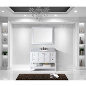 Winterfell 48'' Single Bathroom Vanity Set in White, Italian Carrara White Marble Top with Round Sink, Mirror Included
