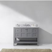 Winterfell 48'' Single Bathroom Vanity Set in Grey, Italian Carrara White Marble Top with Square Sink