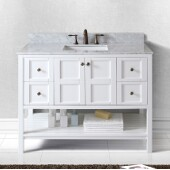 Winterfell 48'' Single Bathroom Vanity Set in White, Italian Carrara White Marble Top with Round Sink, Brushed Nickel Faucets