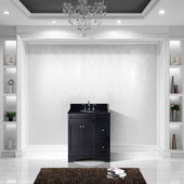 Elise 36'' Single Bathroom Vanity Set in Espresso, Black Galaxy Granite Top with Round Sink, Brushed Nickel Faucet