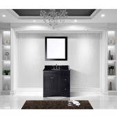 Elise 36'' Single Bathroom Vanity Set in Espresso, Black Galaxy Granite Top with Round Sink, Mirror Included