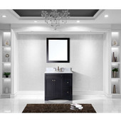 Elise 36'' Single Bathroom Vanity Set in Espresso, Italian Carrara White Marble Top with Round Sink, Mirror Included