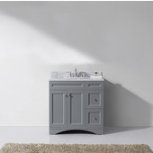 Elise 36'' Single Bathroom Vanity Set in Grey, Italian Carrara White Marble Top with Round Sink