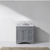 Elise 36'' Single Bathroom Vanity Set in Grey, Italian Carrara White Marble Top with Round Sink
