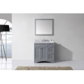 Elise 36'' Single Bathroom Vanity Set in Grey, Italian Carrara White Marble Top with Round Sink, Mirror Included