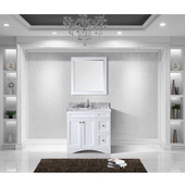 Elise 36'' Single Bathroom Vanity Set in White, Italian Carrara White Marble Top with Round Sink, Mirror Included