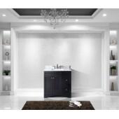 Elise 36'' Single Bathroom Vanity Set in Espresso, Italian Carrara White Marble Top with Square Sink