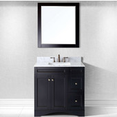 Elise 36'' Single Bathroom Vanity Set in Espresso, Italian Carrara White Marble Top with Square Sink, Available with Optional Faucet, Mirror Included