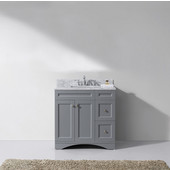 Elise 36'' Single Bathroom Vanity Set in Grey, Italian Carrara White Marble Top with Square Sink