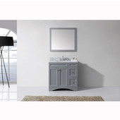 Elise 36'' Single Bathroom Vanity Set in Grey, Italian Carrara White Marble Top with Square Sink, Mirror Included