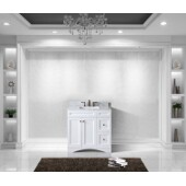 Elise 36'' Single Bathroom Vanity Set in White, Italian Carrara White Marble Top with Square Sink