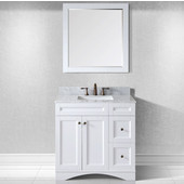 Elise 36'' Single Bathroom Vanity Set in White, Italian Carrara White Marble Top with Square Sink, Available with Optional Faucet, Mirror Included