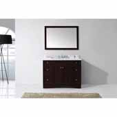 Elise 48'' Single Bathroom Vanity Set in Espresso, Italian Carrara White Marble Top with Round Sink, Mirror Included