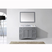 Elise 48'' Single Bathroom Vanity Set in Grey, Italian Carrara White Marble Top with Round Sink, Mirror Included