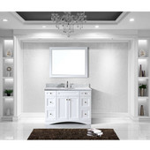 Elise 48'' Single Bathroom Vanity Set in White, Italian Carrara White Marble Top with Round Sink, Mirror Included