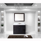 Elise 48'' Single Bathroom Vanity Set in Espresso, Italian Carrara White Marble Top with Square Sink, Available with Optional Faucet, Mirror Included