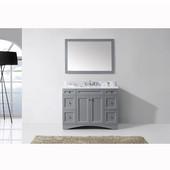 Elise 48'' Single Bathroom Vanity Set in Grey, Italian Carrara White Marble Top with Square Sink, Mirror Included