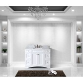 Elise 48'' Single Bathroom Vanity Set in White, Italian Carrara White Marble Top with Square Sink
