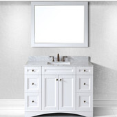 Elise 48'' Single Bathroom Vanity Set in White, Italian Carrara White Marble Top with Square Sink, Available with Optional Faucet, Mirror Included