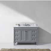 Tiffany 48'' Single Bathroom Vanity Set in Grey, Italian Carrara White Marble Top with Round Sink, Brushed Nickel Faucet