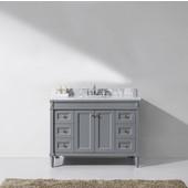 Tiffany 48'' Single Bathroom Vanity Set in Grey, Italian Carrara White Marble Top with Round Sink