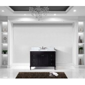 Tiffany 48'' Single Bathroom Vanity Set in Espresso, Italian Carrara White Marble Top with Square Sink