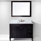 Tiffany 48'' Single Bathroom Vanity Set in Espresso, Italian Carrara White Marble Top with Square Sink, Available with Optional Faucet, Mirror Included