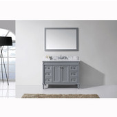 Tiffany 48'' Single Bathroom Vanity Set in Grey, Italian Carrara White Marble Top with Square Sink, Mirror Included