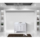 Tiffany 48'' Single Bathroom Vanity Set in White, Italian Carrara White Marble Top with Square Sink