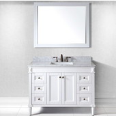 Tiffany 48'' Single Bathroom Vanity Set in White, Italian Carrara White Marble Top with Square Sink, Available with Optional Faucet, Mirror Included