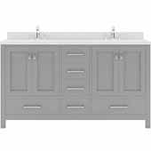 Caroline Avenue 60'' Double Bathroom Vanity Set in Cashmere Grey, Dazzle White Quartz Top with Round Sinks
