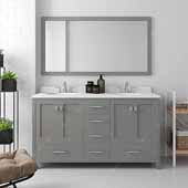 Caroline Avenue 60'' Double Bathroom Vanity Set in Cashmere Grey, Dazzle White Quartz Top with Round Sinks, Polished Chrome Faucets, Mirror Included