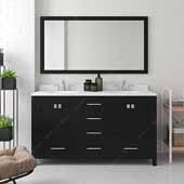 Caroline Avenue 60'' Double Bathroom Vanity Set in Espresso, Dazzle White Quartz Top with Round Sinks, Polished Chrome Faucets, Mirror Included