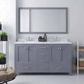 Caroline Avenue 60'' Double Bathroom Vanity Set in Grey, Dazzle White Quartz Top with Round Sinks, Polished Chrome Faucets, Mirror Included