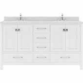 Caroline Avenue 60'' Double Bathroom Vanity Set in White, Dazzle White Quartz Top with Round Sinks