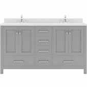 Caroline Avenue 60'' Double Bathroom Vanity Set in Cashmere Grey, Dazzle White Quartz Top with Square Sinks