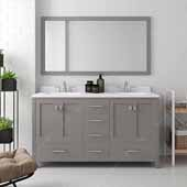 Caroline Avenue 60'' Double Bathroom Vanity Set in Cashmere Grey, Dazzle White Quartz Top with Square Sinks, Polished Chrome Faucets, Mirror Included