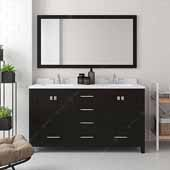Caroline Avenue 60'' Double Bathroom Vanity Set in Espresso, Dazzle White Quartz Top with Square Sinks, Polished Chrome Faucets, Mirror Included